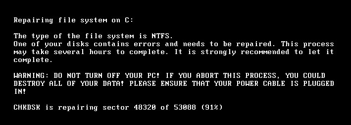 Fig 6. CHKDSK message after restart